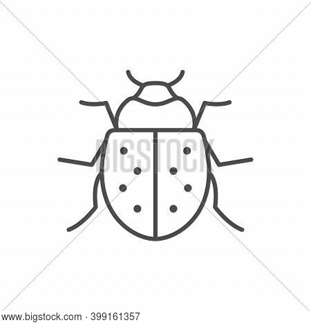 Bug Line Outline Icon Or Insect Concept Isolated On White. Vector Illustration