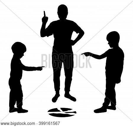 Children Point Fingers At Each Other. Children Lie To Their Parents. Broken Plate. Angry Parent Show