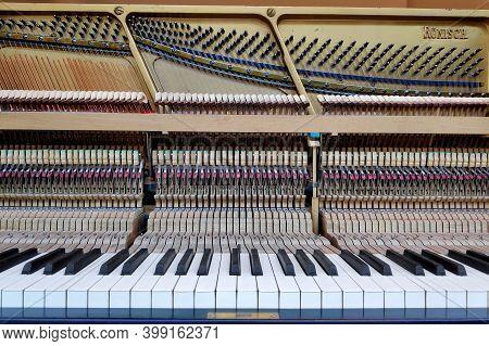 Berlin, Germany - June 21 2019: Old Piano From The Geman Manufacturer Karl Rönisch.