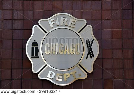 Chicago, Il April 20, 2020, Chicago Fire Department Seal On The Outside Of The Chicago Public Safety