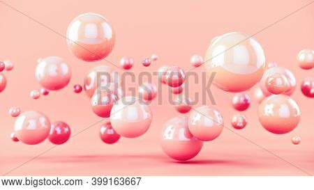 Pastel Colour Bubbles Design. Abstract Colorful Background With 3d Spheres. 3d Rendering