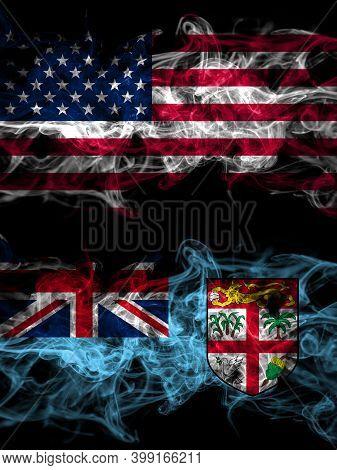 United States Of America, America, Us, Usa, American Vs Fiji, Fijian Smoky Mystic Flags Placed Side