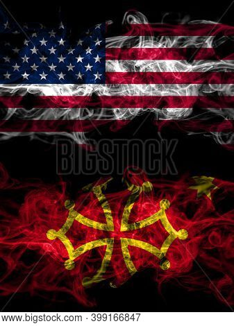 United States Of America, America, Us, Usa, American Vs Occitania Smoky Mystic Flags Placed Side By