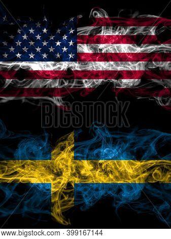 United States Of America, America, Us, Usa, American Vs Sweden, Swedish Swede Smoky Mystic Flags Pla