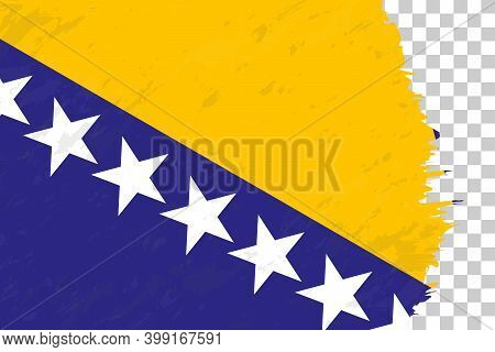 Horizontal Abstract Grunge Brushed Flag Of Bosnia And Herzegovina On Transparent Grid. Vector Templa