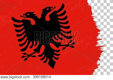 Horizontal Abstract Grunge Brushed Flag Of Albania On Transparent Grid. Vector Template.