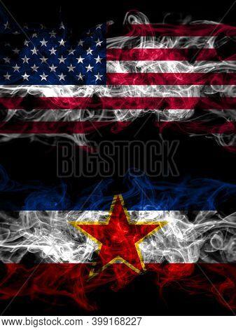 United States Of America, America, Us, Usa, American Vs Yugoslavia, Yugoslavian Smoky Mystic Flags P