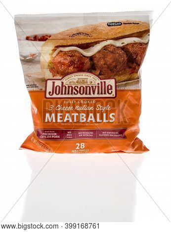 Winneconne, Wi -9 December 2020: A Package Of Johnsonville Meatballs On An Isolated Background.