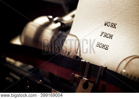Work from home phrase written with a typewriter.