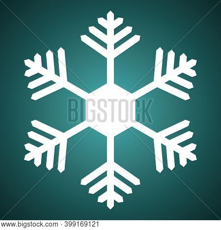 Snowflake. Festive Ornament. Vector Illustration. Isolated Green Background. Flat Style. A Fragile C