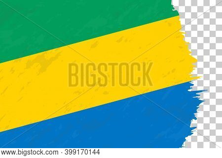 Horizontal Abstract Grunge Brushed Flag Of Gabon On Transparent Grid. Vector Template.