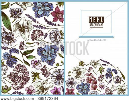 Menu Cover Floral Design With Colored Anemone, Lavender, Rosemary Everlasting, Phalaenopsis, Lily, I
