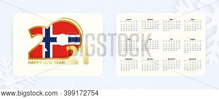 Horizontal Pocket Calendar 2021 In Norwegian Language. New Year 2021 Icon With Flag Of Norway. Vecto