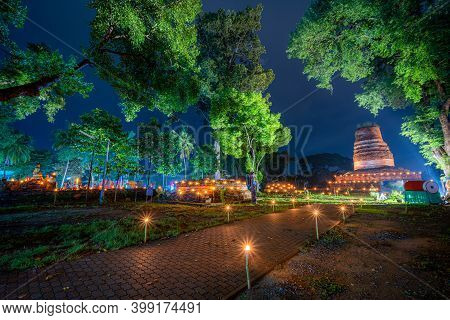 Beautiful Scene Light Color The Loy Krathong Festival 2020 At Pagoda In The Wat Aranyik Is A Histori
