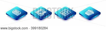Set Isometric Line 3d Word, Play Video, Hollywood Walk Of Fame Star And Popcorn In Box Icon. Vector