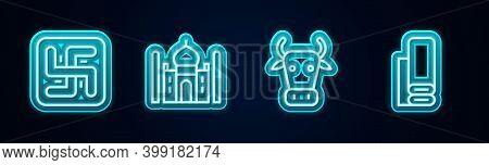 Set Line Hindu Swastika, Taj Mahal, Cow And Indian Textile Fabric. Glowing Neon Icon. Vector