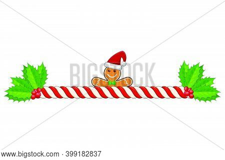 Candy Cane Divider. Holiday Striped Border Isolated On White Background. Christmas Design Element. V