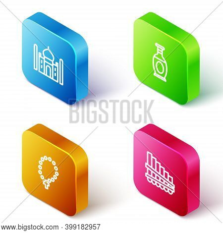 Set Isometric Line Taj Mahal, Indian Vase, Rosary Beads Religion And Pan Flute Icon. Vector