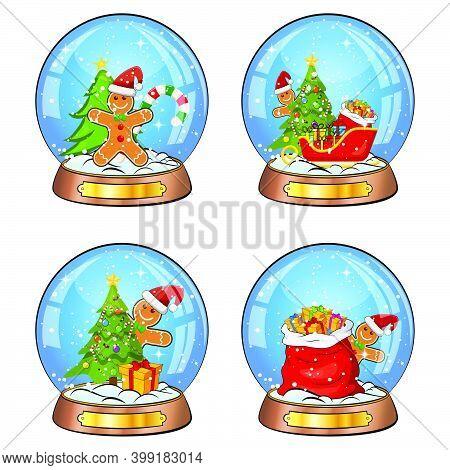 Snow Globe Illustration Set For Christmas. Crystal Ball With Falling Snowflakes Inside. Seasonal Mag