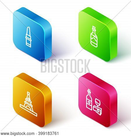 Set Isometric Line Lipstick, Bottles Of Wine, Eiffel Tower And Wine Bottle With Cheese Icon. Vector