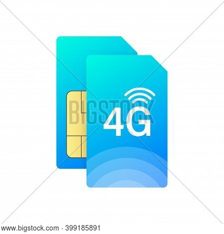 4g Sim Card. 4g Technology Background. Vector Stock Illustration.