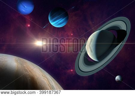 Conjunction Of Jupiter And Saturn In Aquarius. Planet Of Solar System: Jupiter, Saturn Neptune, Uran