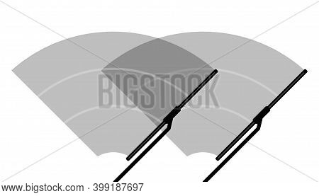 Car Windscreen Wiper Glass, Two Wiper Cleans The Windshield On White Background. Flat Design. Vector