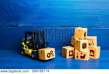 Forklift Truck And Cardboard Boxes With Goods. Logistic Infrastructure And Warehousing Services. Imp