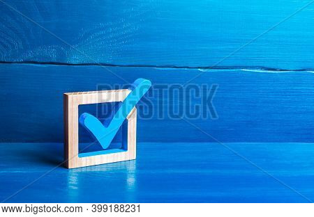 Blue Voting Tick. Checkbox. Choice And Guarantee Concept. Democratic Elections For Parliament Or Pre