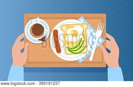 Top View Of Breakfast On Wooden Tray. Appetizing Delicious Breakfast Coffee, Fried Egg With Sausage,