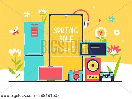 Household Appliances With Washing Machine And Fridge On Flower Background. Spring Seasonal Sale Of H