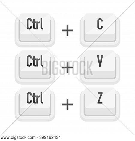 Ctrl Plus C, Ctrl Plus V And Ctrl Plus Z White 3d Button On White Background. Computers Particles Ke