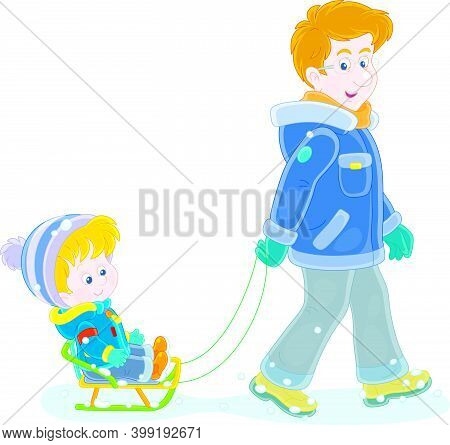 Young Dad Sledding A Happy Little Son On A Snowy Winter Day, Vector Cartoon Illustration Isolated On