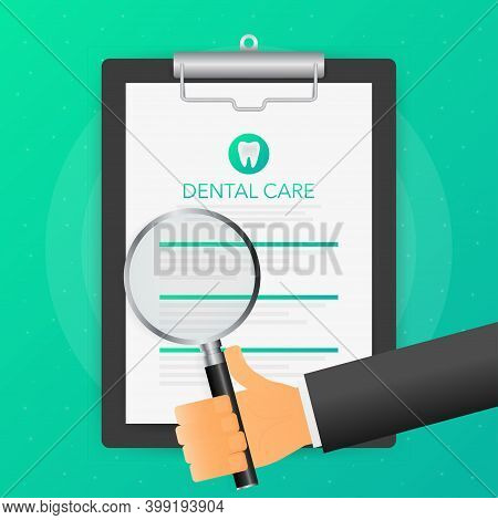 Hand Holds Magnifying Glass Over Tablet With Dental Care On Green Background. Vector Illustration.