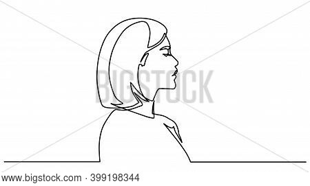 One Line Girl Or Woman Portrait Design. Hand Drawn Minimalism Style Vector Illustration. Side View O