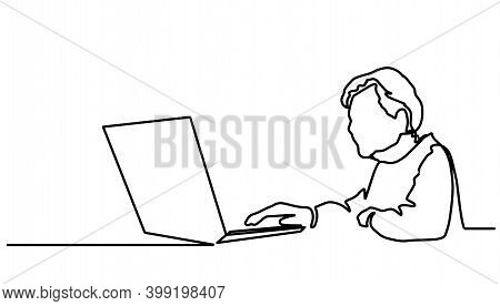 Old Man Old Pensioner Sitting Working At A Laptop Computer On The Internet. One Continuous Drawing L