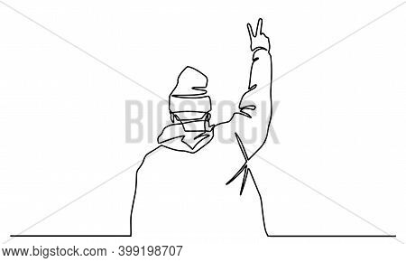 Continuous Single Drawn One Line Young Man Shows Gesture Peace Drawn By Hand Picture Silhouette. Lin