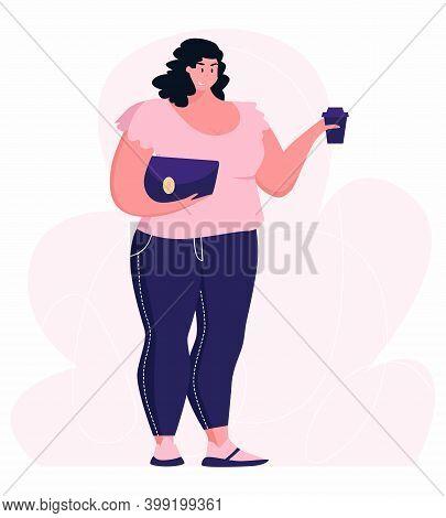 Body Positive. Plump Women, Oversize Model Girls. Cute Fat Female Characters Vector Illustration