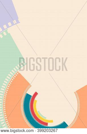 Colorful Silhouette Of Filmstrips In Circle. Art Deco Style. Retro Cinema Background. Film Design Wi