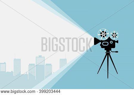 Cinema Movie Festival Poster. Silhouette Of Vintage Cinema Camera On A Tripod Projecting Futuristic