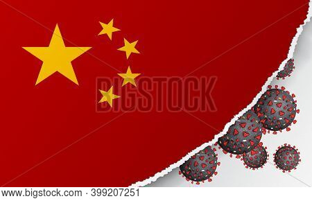 Flag Of China With Outbreak Deadly Coronavirus Covid-19. A Large Coronavirus Bacteriums Against Back