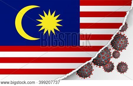 Flag Of Malaysia With Outbreak Deadly Coronavirus Covid-19. Banner With The Spread Of Coronavirus 20
