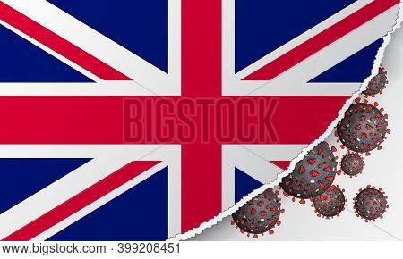 Flag Of United Kingdom With Outbreak Deadly Coronavirus Covid-19. Banner With The Spread Of Coronavi