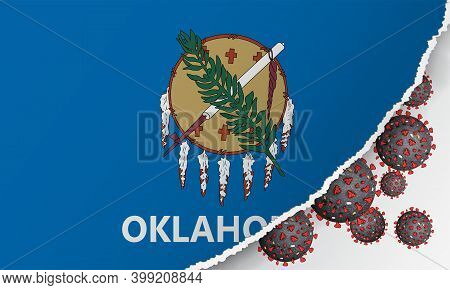 Flag Of Oklahoma State With Outbreak Viruses Deadly Coronavirus Covid-19. Banner With The Spread Of