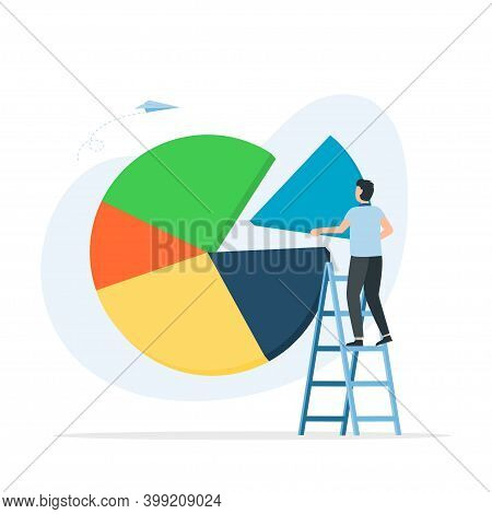Businessman Standing On Ladder To Arrange Pie Chart. Showing A Market Share Percentage Using A Pie C
