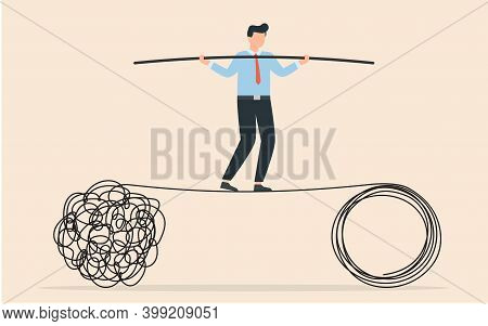 Acrobat Walk Balance On Danger High Rope And Try To Solve Problem. Tangle Tangled And Unraveled. Abs