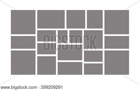 Template Collage Frames For Moodboard, Image Gallery And Photo Album. Blank Photographs Layout. Vect