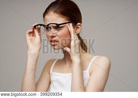 Woman With Poor Eyesight Health Problems Astigmatism Myopia