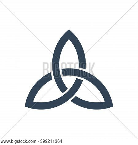 Triquetra Symbol. Celtic Trinity Knot Icon. Vector Isolated On White.
