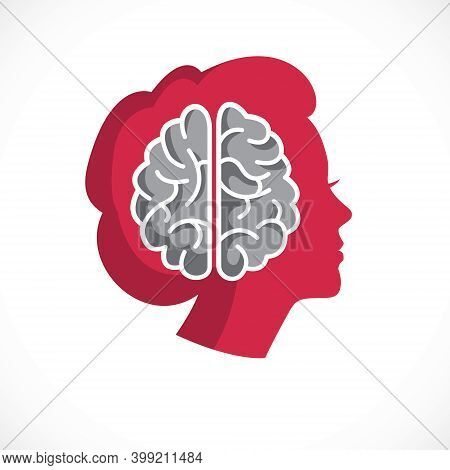 Psychology Concept Vector Logo Or Icon Created With Human Anatomical Brain Inside Of Woman Face Prof